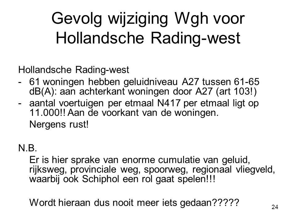 24 Gevolg wijziging Wgh voor Hollandsche Rading-west Hollandsche Rading-west -61 woningen hebben geluidniveau A27 tussen 61-65 dB(A): aan achterkant woningen door A27 (art 103!) -aantal voertuigen per etmaal N417 per etmaal ligt op 11.000!.