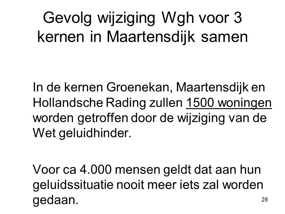 26 Gevolg wijziging Wgh voor 3 kernen in Maartensdijk samen In de kernen Groenekan, Maartensdijk en Hollandsche Rading zullen 1500 woningen worden getroffen door de wijziging van de Wet geluidhinder.