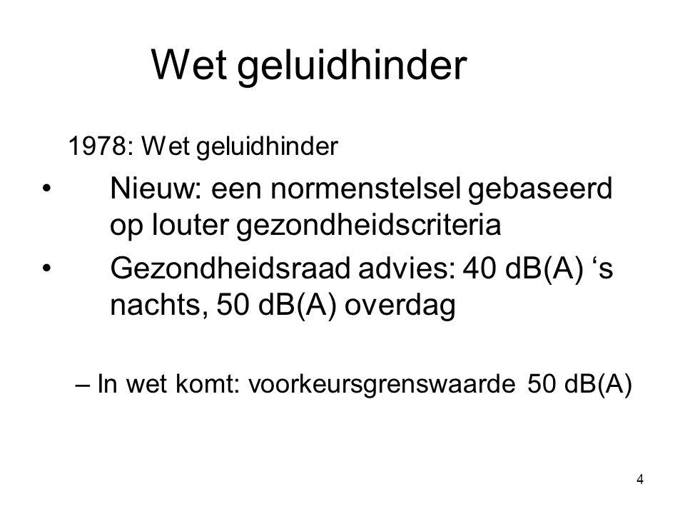 4 Wet geluidhinder 1978: Wet geluidhinder Nieuw: een normenstelsel gebaseerd op louter gezondheidscriteria Gezondheidsraad advies: 40 dB(A) 's nachts, 50 dB(A) overdag –In wet komt: voorkeursgrenswaarde 50 dB(A)