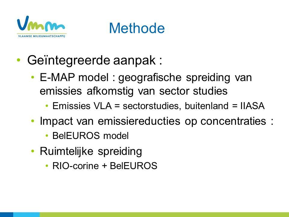 Methode Geïntegreerde aanpak : E-MAP model : geografische spreiding van emissies afkomstig van sector studies Emissies VLA = sectorstudies, buitenland = IIASA Impact van emissiereducties op concentraties : BelEUROS model Ruimtelijke spreiding RIO-corine + BelEUROS