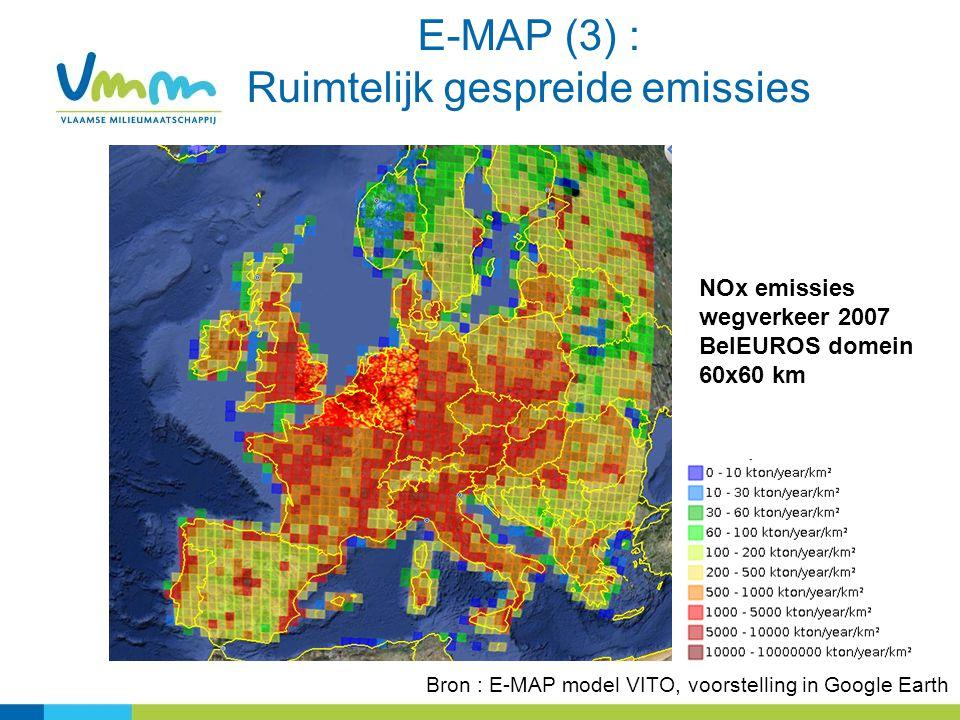 E-MAP (3) : Ruimtelijk gespreide emissies NOx emissies wegverkeer 2007 BelEUROS domein 60x60 km Bron : E-MAP model VITO, voorstelling in Google Earth