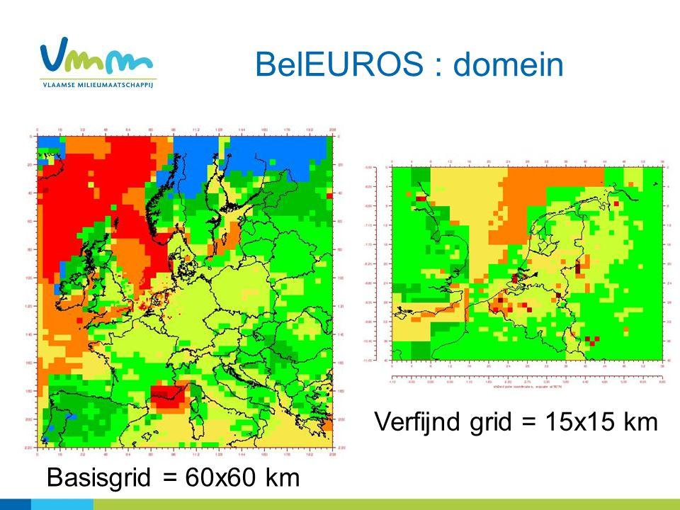 BelEUROS : domein Basisgrid = 60x60 km Verfijnd grid = 15x15 km