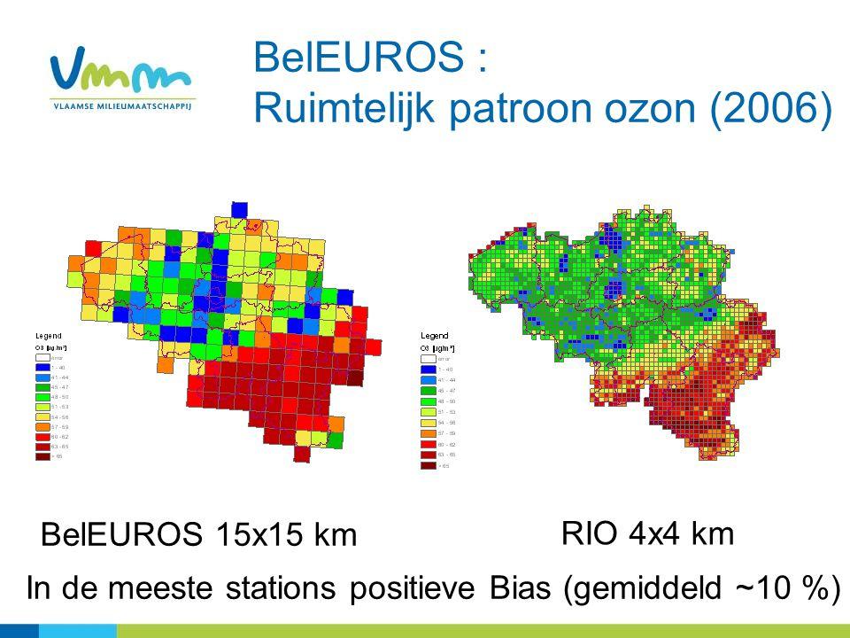 BelEUROS 15x15 km RIO 4x4 km BelEUROS : Ruimtelijk patroon ozon (2006) In de meeste stations positieve Bias (gemiddeld ~10 %)