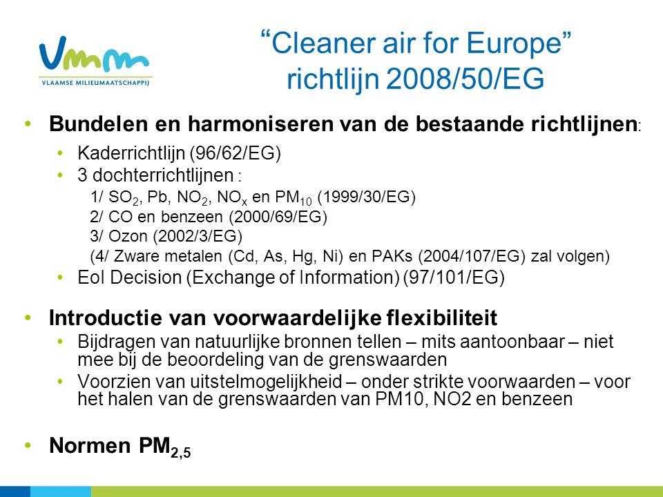 Bundelen en harmoniseren van de bestaande richtlijnen : Kaderrichtlijn (96/62/EG) 3 dochterrichtlijnen : 1/ SO 2, Pb, NO 2, NO x en PM 10 (1999/30/EG) 2/ CO en benzeen (2000/69/EG) 3/ Ozon (2002/3/EG) (4/ Zware metalen (Cd, As, Hg, Ni) en PAKs (2004/107/EG) zal volgen) EoI Decision (Exchange of Information) (97/101/EG) Introductie van voorwaardelijke flexibiliteit Bijdragen van natuurlijke bronnen tellen – mits aantoonbaar – niet mee bij de beoordeling van de grenswaarden Voorzien van uitstelmogelijkheid – onder strikte voorwaarden – voor het halen van de grenswaarden van PM10, NO2 en benzeen Normen PM 2,5 Cleaner air for Europe richtlijn 2008/50/EG