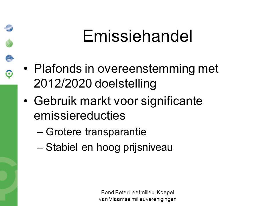 Bond Beter Leefmilieu, Koepel van Vlaamse milieuverenigingen Emissiehandel Plafonds in overeenstemming met 2012/2020 doelstelling Gebruik markt voor significante emissiereducties –Grotere transparantie –Stabiel en hoog prijsniveau