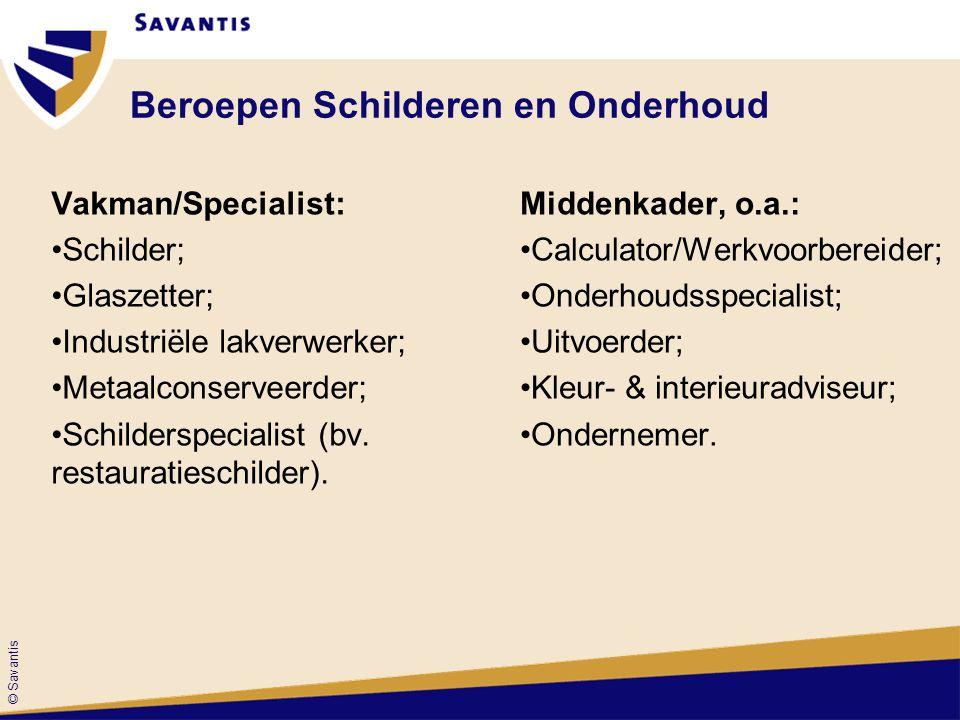 © Savantis Beroepen Schilderen en Onderhoud Vakman/Specialist: Schilder; Glaszetter; Industriële lakverwerker; Metaalconserveerder; Schilderspecialist (bv.