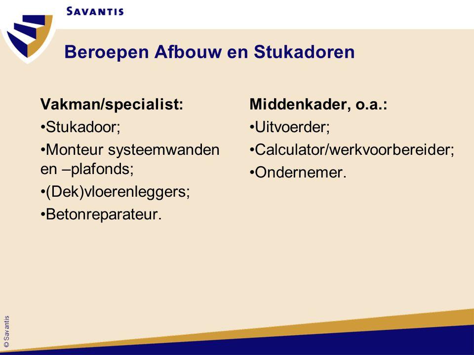 © Savantis Beroepen Afbouw en Stukadoren Vakman/specialist: Stukadoor; Monteur systeemwanden en –plafonds; (Dek)vloerenleggers; Betonreparateur.