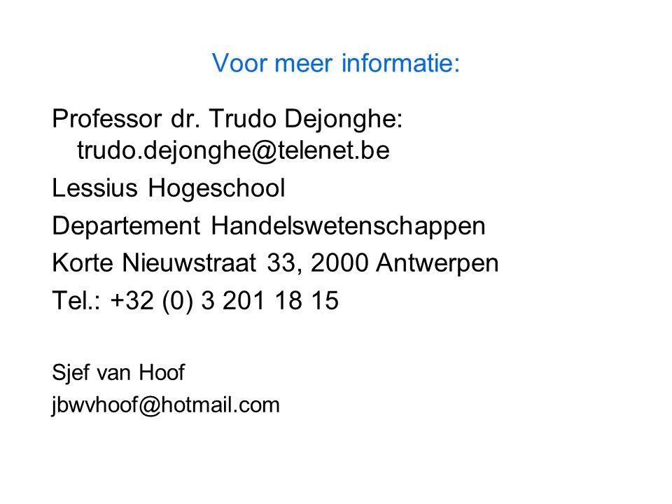 Voor meer informatie: Professor dr. Trudo Dejonghe: trudo.dejonghe@telenet.be Lessius Hogeschool Departement Handelswetenschappen Korte Nieuwstraat 33