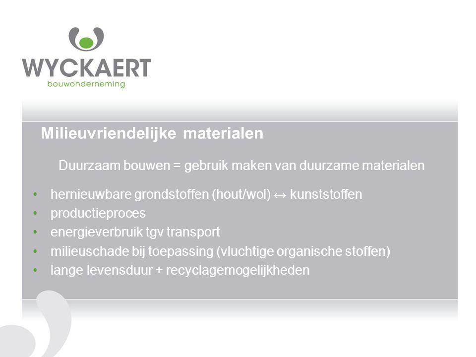 Milieuvriendelijke materialen Duurzaam bouwen = gebruik maken van duurzame materialen hernieuwbare grondstoffen (hout/wol) ↔ kunststoffen productiepro