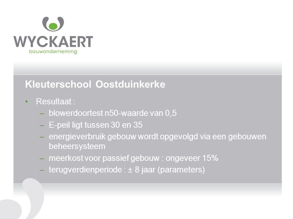 Kleuterschool Oostduinkerke Resultaat : –blowerdoortest n50-waarde van 0,5 –E-peil ligt tussen 30 en 35 –energieverbruik gebouw wordt opgevolgd via ee