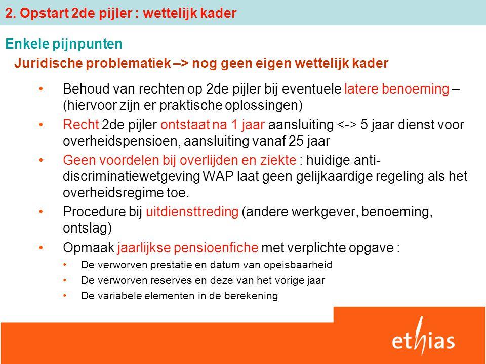 Juridische problematiek –> nog geen eigen wettelijk kader Behoud van rechten op 2de pijler bij eventuele latere benoeming – (hiervoor zijn er praktisc