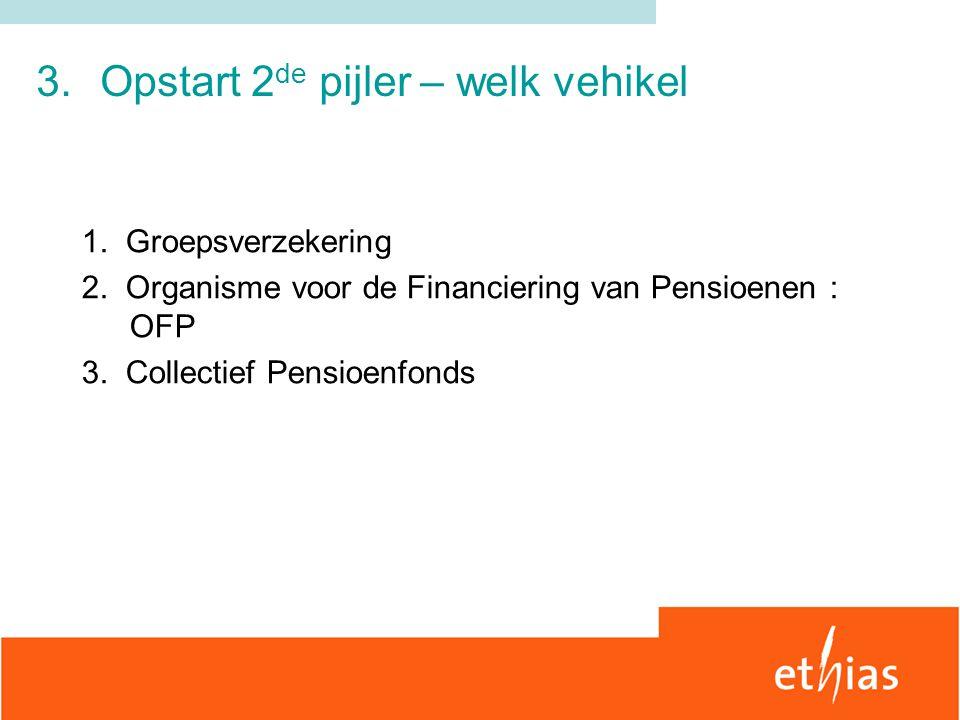 3.Opstart 2 de pijler – welk vehikel 1. Groepsverzekering 2. Organisme voor de Financiering van Pensioenen : OFP 3. Collectief Pensioenfonds