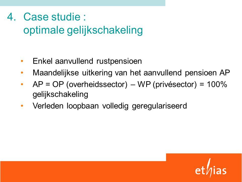 4.Case studie : optimale gelijkschakeling Enkel aanvullend rustpensioen Maandelijkse uitkering van het aanvullend pensioen AP AP = OP (overheidssector