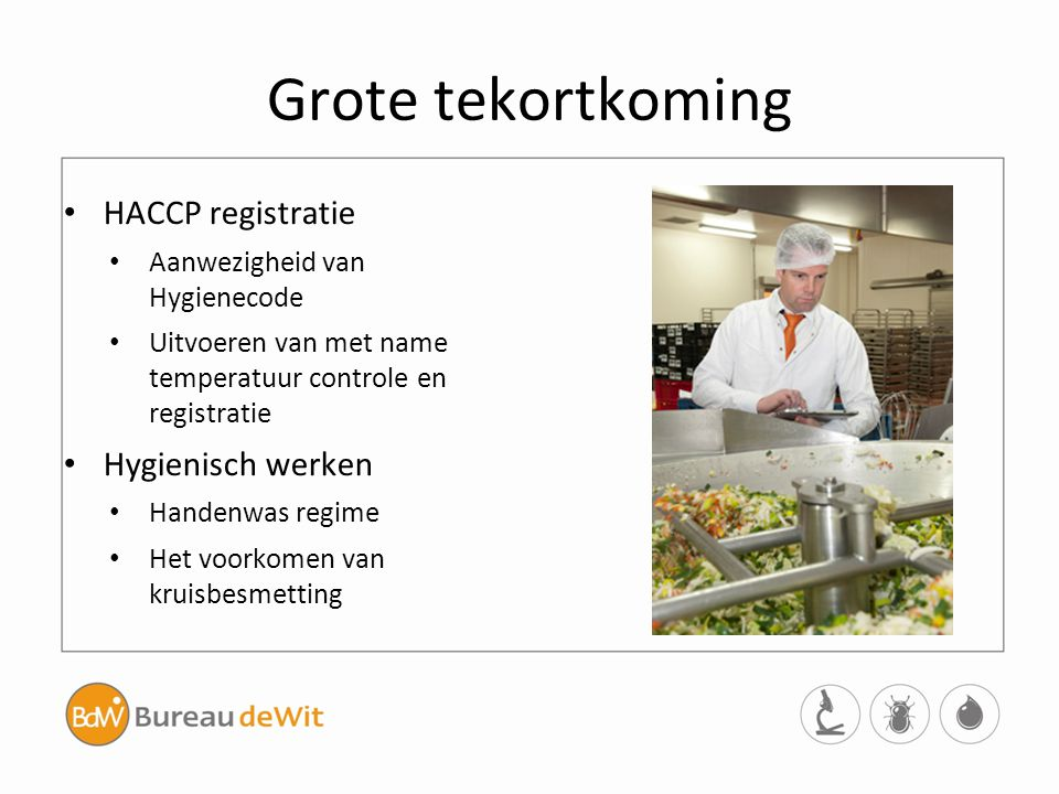 Grote tekortkoming HACCP registratie Aanwezigheid van Hygienecode Uitvoeren van met name temperatuur controle en registratie Hygienisch werken Handenw