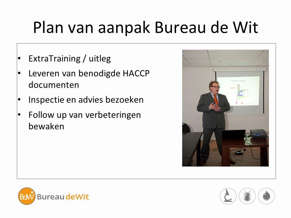 Plan van aanpak Bureau de Wit ExtraTraining / uitleg Leveren van benodigde HACCP documenten Inspectie en advies bezoeken Follow up van verbeteringen b