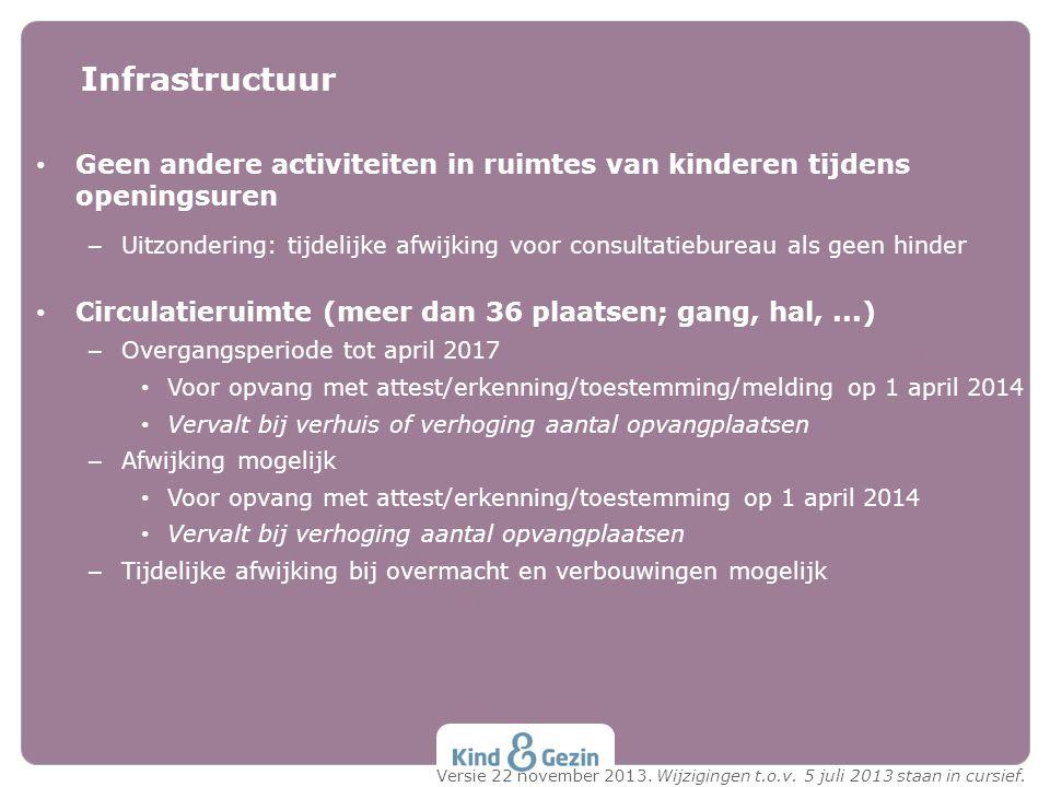 Geen andere activiteiten in ruimtes van kinderen tijdens openingsuren – Uitzondering: tijdelijke afwijking voor consultatiebureau als geen hinder Circ