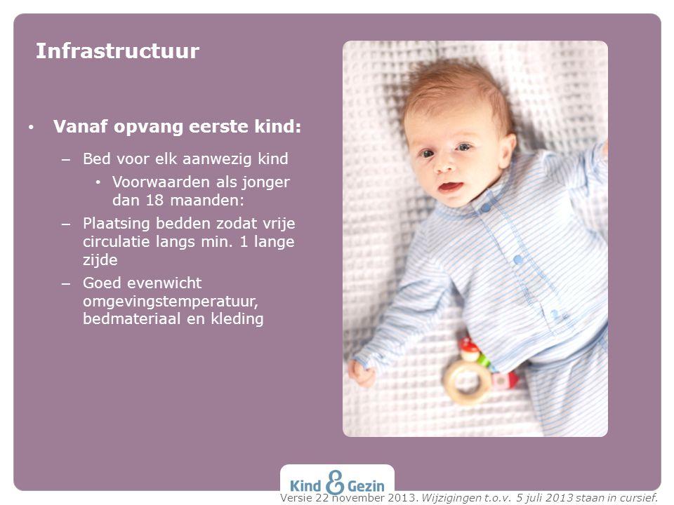 Vanaf opvang eerste kind: – Bed voor elk aanwezig kind Voorwaarden als jonger dan 18 maanden: – Plaatsing bedden zodat vrije circulatie langs min. 1 l