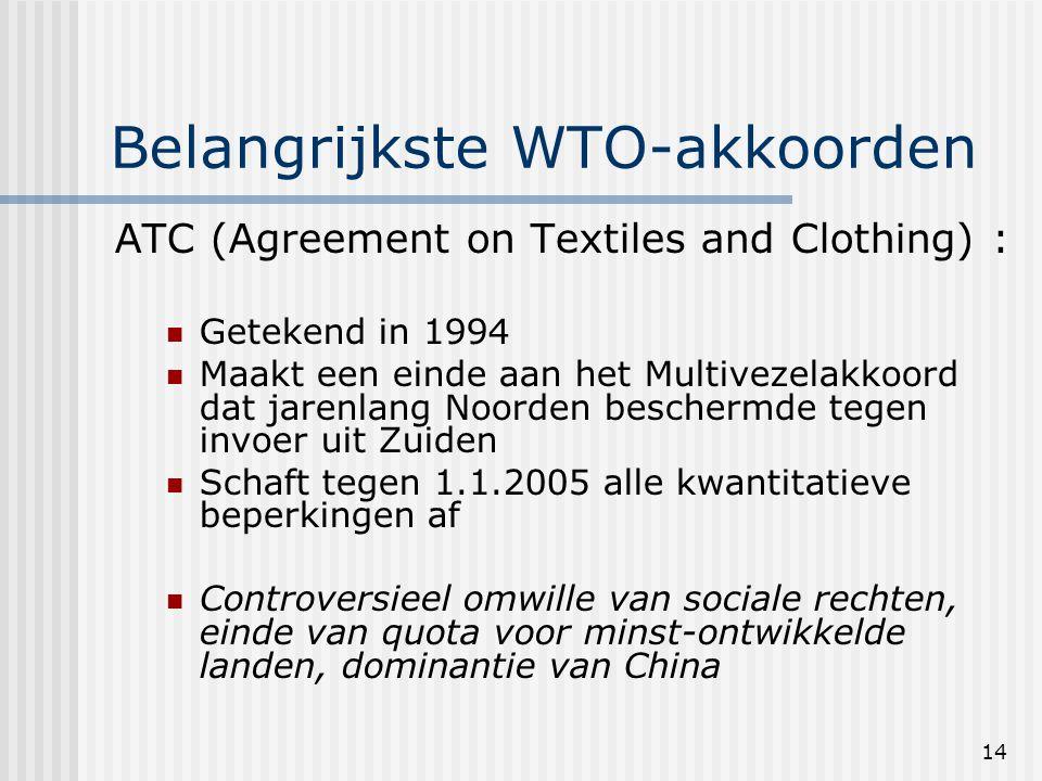 14 Belangrijkste WTO-akkoorden ATC (Agreement on Textiles and Clothing) : Getekend in 1994 Maakt een einde aan het Multivezelakkoord dat jarenlang Noorden beschermde tegen invoer uit Zuiden Schaft tegen 1.1.2005 alle kwantitatieve beperkingen af Controversieel omwille van sociale rechten, einde van quota voor minst-ontwikkelde landen, dominantie van China