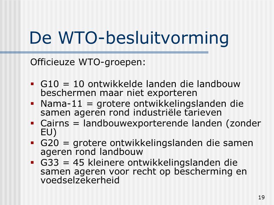 19 De WTO-besluitvorming Officieuze WTO-groepen:  G10 = 10 ontwikkelde landen die landbouw beschermen maar niet exporteren  Nama-11 = grotere ontwikkelingslanden die samen ageren rond industriële tarieven  Cairns = landbouwexporterende landen (zonder EU)  G20 = grotere ontwikkelingslanden die samen ageren rond landbouw  G33 = 45 kleinere ontwikkelingslanden die samen ageren voor recht op bescherming en voedselzekerheid