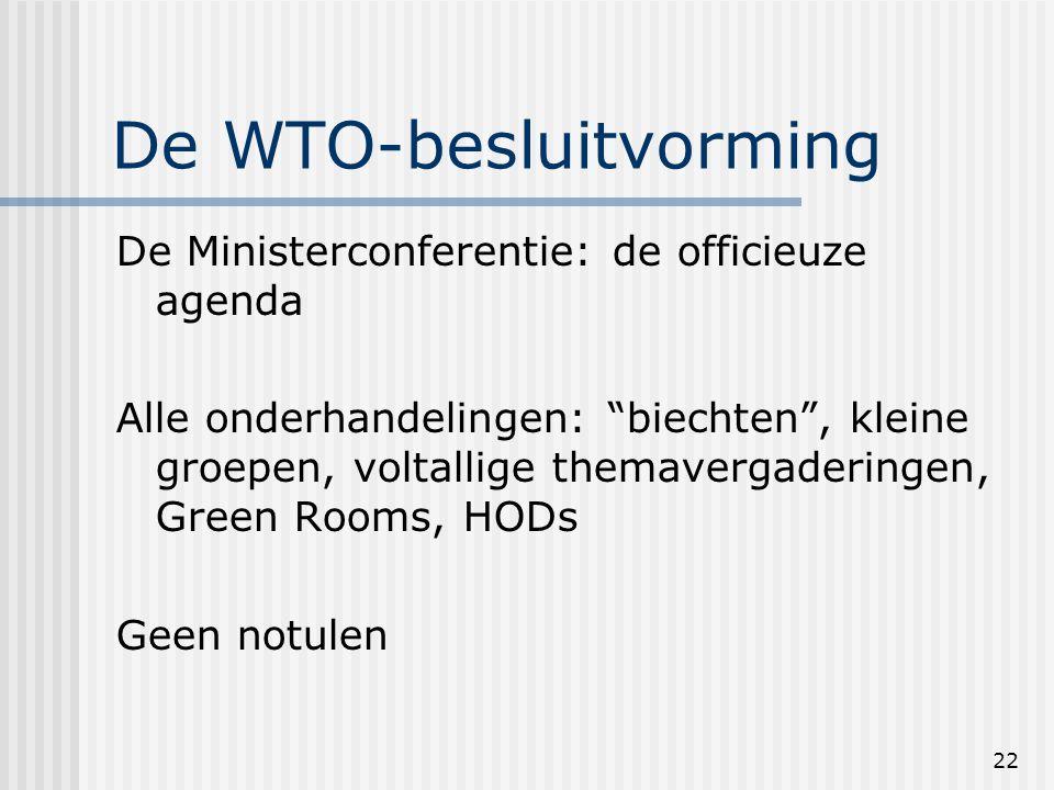 22 De WTO-besluitvorming De Ministerconferentie: de officieuze agenda Alle onderhandelingen: biechten , kleine groepen, voltallige themavergaderingen, Green Rooms, HODs Geen notulen