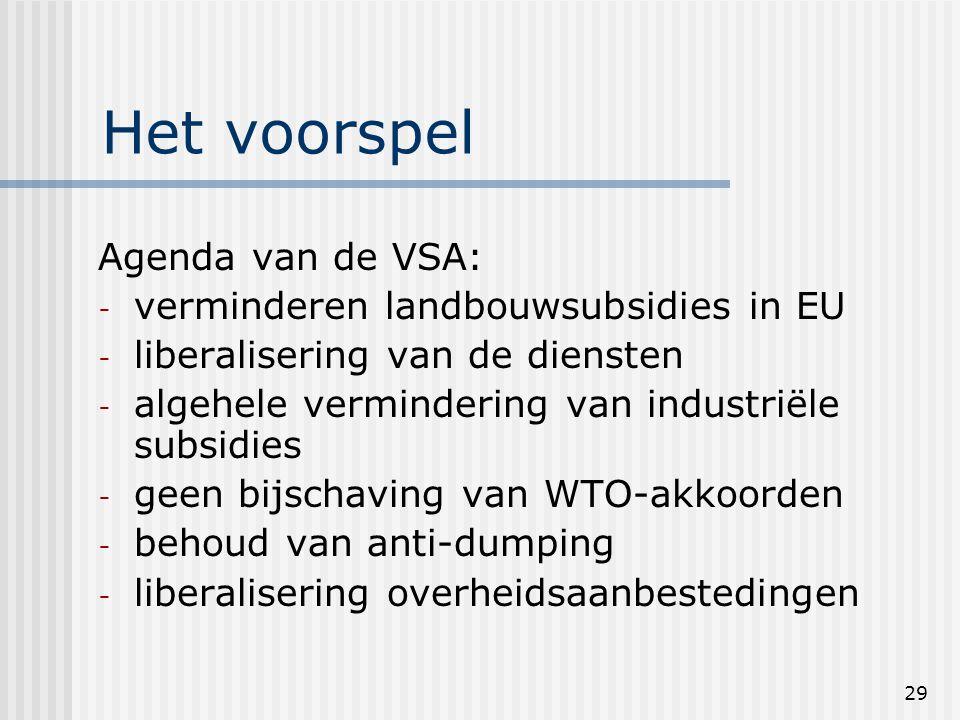 29 Het voorspel Agenda van de VSA: - verminderen landbouwsubsidies in EU - liberalisering van de diensten - algehele vermindering van industriële subsidies - geen bijschaving van WTO-akkoorden - behoud van anti-dumping - liberalisering overheidsaanbestedingen