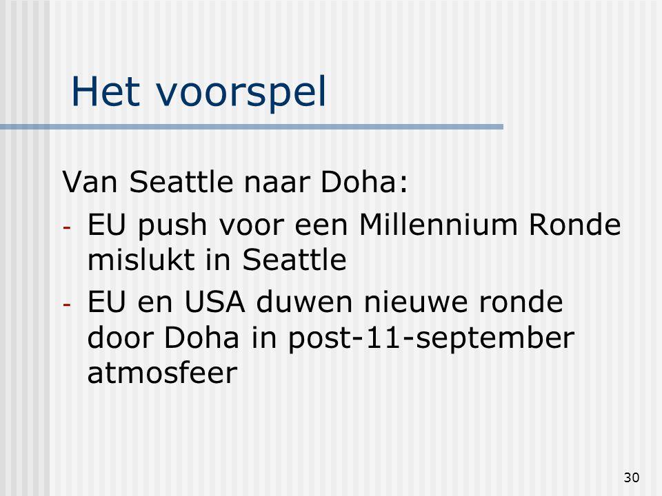 30 Het voorspel Van Seattle naar Doha: - EU push voor een Millennium Ronde mislukt in Seattle - EU en USA duwen nieuwe ronde door Doha in post-11-september atmosfeer