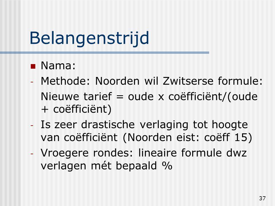 37 Belangenstrijd Nama: - Methode: Noorden wil Zwitserse formule: Nieuwe tarief = oude x coëfficiënt/(oude + coëfficiënt) - Is zeer drastische verlaging tot hoogte van coëfficiënt (Noorden eist: coëff 15) - Vroegere rondes: lineaire formule dwz verlagen mét bepaald %