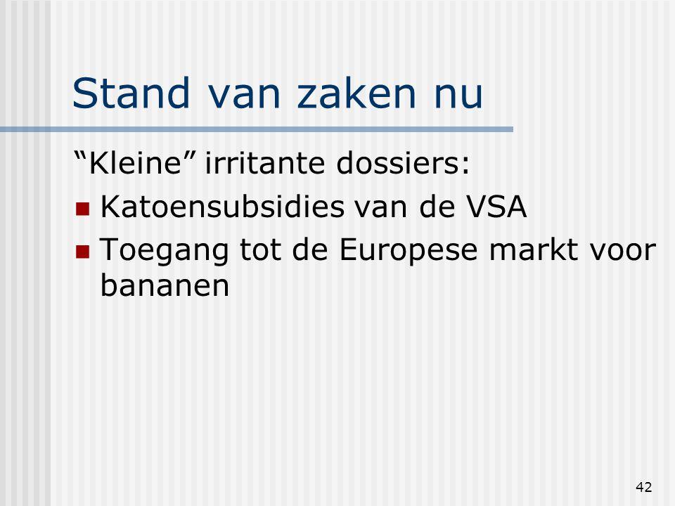 42 Stand van zaken nu Kleine irritante dossiers: Katoensubsidies van de VSA Toegang tot de Europese markt voor bananen
