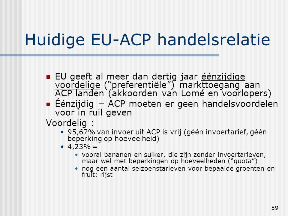 59 Huidige EU-ACP handelsrelatie EU geeft al meer dan dertig jaar éénzijdige voordelige ( preferentiële ) markttoegang aan ACP landen (akkoorden van Lomé en voorlopers) Éénzijdig = ACP moeten er geen handelsvoordelen voor in ruil geven Voordelig : 95,67% van invoer uit ACP is vrij (géén invoertarief, géén beperking op hoeveelheid) 4,23% = vooral bananen en suiker, die zijn zonder invoertarieven, maar wel met beperkingen op hoeveelheden ( quota ) nog een aantal seizoenstarieven voor bepaalde groenten en fruit; rijst