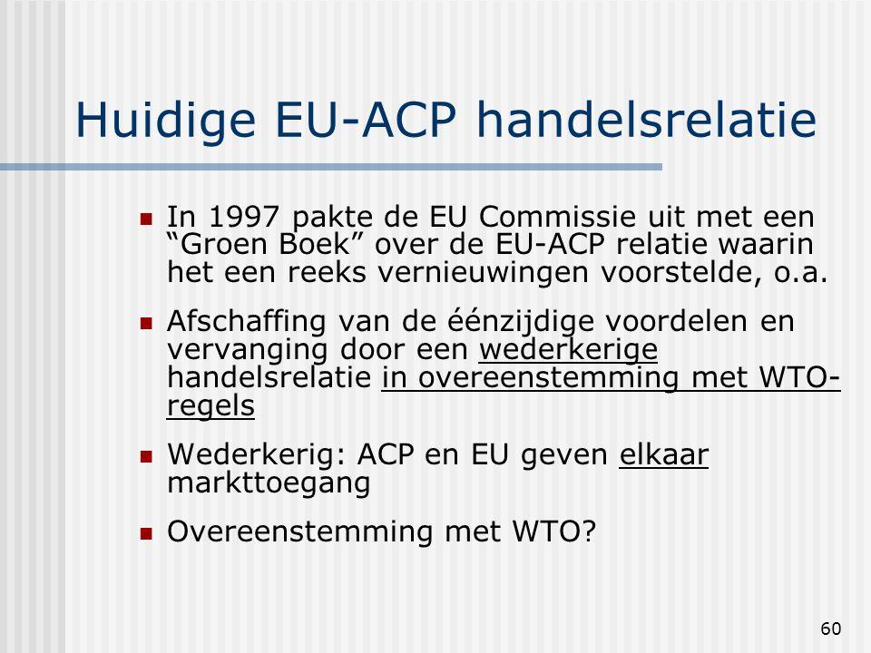 60 Huidige EU-ACP handelsrelatie In 1997 pakte de EU Commissie uit met een Groen Boek over de EU-ACP relatie waarin het een reeks vernieuwingen voorstelde, o.a.