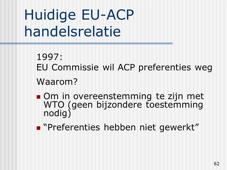 62 Huidige EU-ACP handelsrelatie 1997: EU Commissie wil ACP preferenties weg Waarom.