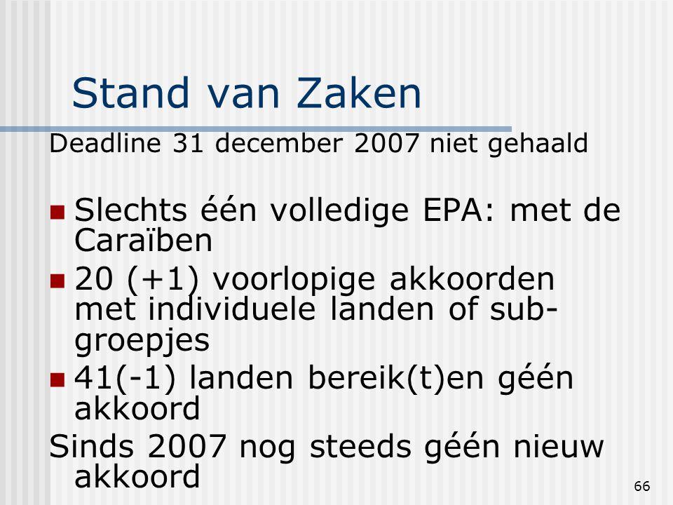 66 Stand van Zaken Deadline 31 december 2007 niet gehaald Slechts één volledige EPA: met de Caraïben 20 (+1) voorlopige akkoorden met individuele landen of sub- groepjes 41(-1) landen bereik(t)en géén akkoord Sinds 2007 nog steeds géén nieuw akkoord