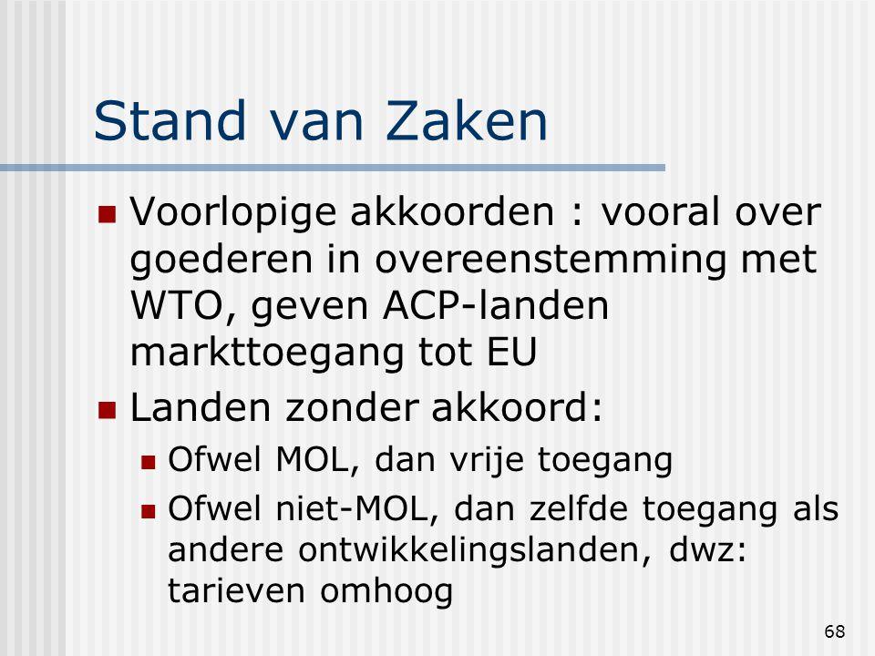 68 Stand van Zaken Voorlopige akkoorden : vooral over goederen in overeenstemming met WTO, geven ACP-landen markttoegang tot EU Landen zonder akkoord: Ofwel MOL, dan vrije toegang Ofwel niet-MOL, dan zelfde toegang als andere ontwikkelingslanden, dwz: tarieven omhoog