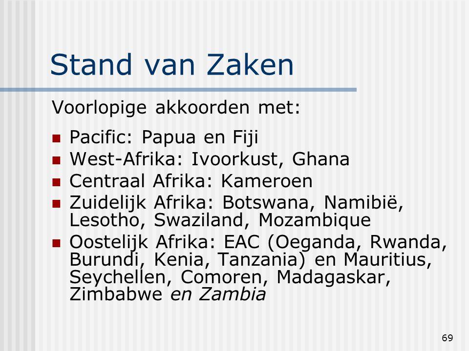 69 Stand van Zaken Voorlopige akkoorden met: Pacific: Papua en Fiji West-Afrika: Ivoorkust, Ghana Centraal Afrika: Kameroen Zuidelijk Afrika: Botswana