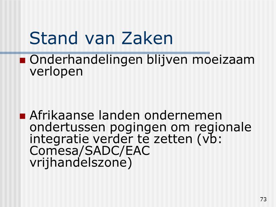 73 Stand van Zaken Onderhandelingen blijven moeizaam verlopen Afrikaanse landen ondernemen ondertussen pogingen om regionale integratie verder te zetten (vb: Comesa/SADC/EAC vrijhandelszone)