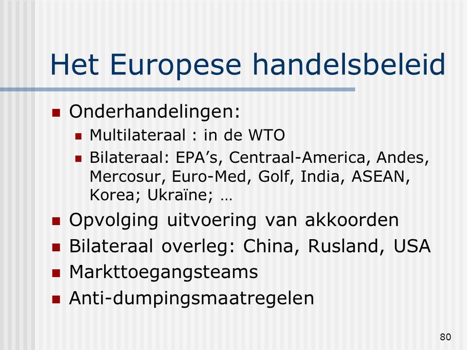 80 Het Europese handelsbeleid Onderhandelingen: Multilateraal : in de WTO Bilateraal: EPA's, Centraal-America, Andes, Mercosur, Euro-Med, Golf, India, ASEAN, Korea; Ukraïne; … Opvolging uitvoering van akkoorden Bilateraal overleg: China, Rusland, USA Markttoegangsteams Anti-dumpingsmaatregelen