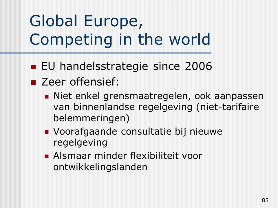 83 Global Europe, Competing in the world EU handelsstrategie since 2006 Zeer offensief: Niet enkel grensmaatregelen, ook aanpassen van binnenlandse regelgeving (niet-tarifaire belemmeringen) Voorafgaande consultatie bij nieuwe regelgeving Alsmaar minder flexibiliteit voor ontwikkelingslanden
