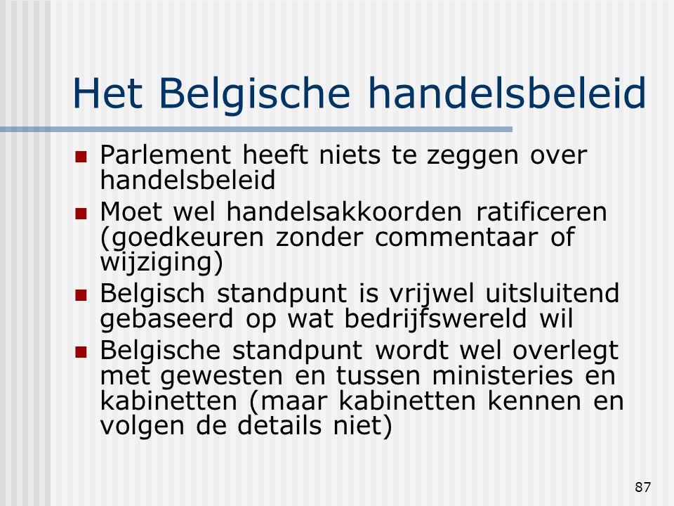 87 Het Belgische handelsbeleid Parlement heeft niets te zeggen over handelsbeleid Moet wel handelsakkoorden ratificeren (goedkeuren zonder commentaar of wijziging) Belgisch standpunt is vrijwel uitsluitend gebaseerd op wat bedrijfswereld wil Belgische standpunt wordt wel overlegt met gewesten en tussen ministeries en kabinetten (maar kabinetten kennen en volgen de details niet)