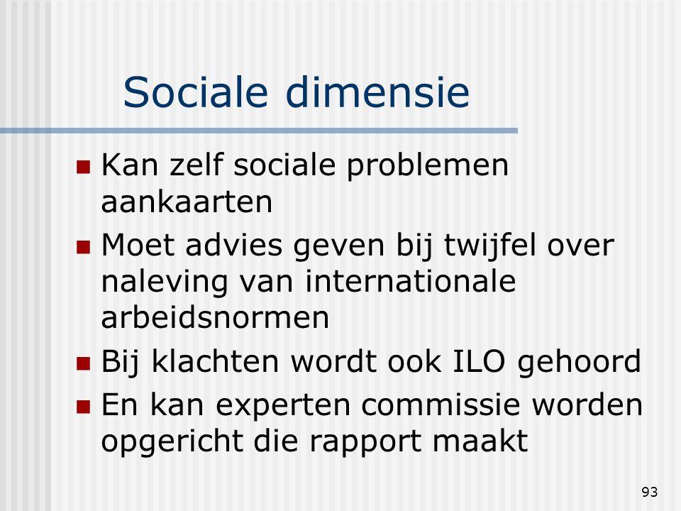 93 Sociale dimensie Kan zelf sociale problemen aankaarten Moet advies geven bij twijfel over naleving van internationale arbeidsnormen Bij klachten wordt ook ILO gehoord En kan experten commissie worden opgericht die rapport maakt