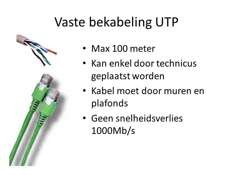 Vaste bekabeling UTP Max 100 meter Kan enkel door technicus geplaatst worden Kabel moet door muren en plafonds Geen snelheidsverlies 1000Mb/s