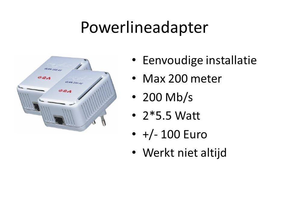 Powerlineadapter Eenvoudige installatie Max 200 meter 200 Mb/s 2*5.5 Watt +/- 100 Euro Werkt niet altijd
