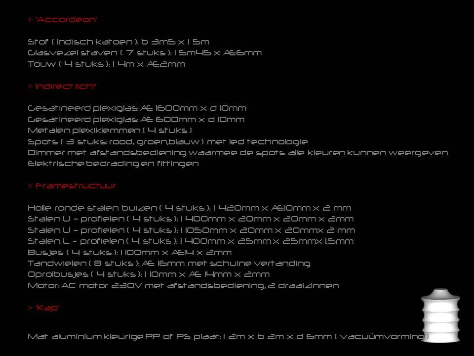 > Accordeon Stof ( Indisch katoen ): b 3m5 x l 5m Glasvezel staven ( 7 stuks ): l 5m45 x Æ6mm Touw ( 4 stuks ): l 4m x Æ2mm > Indirect licht Gesatineerd plexiglas: Æ 1600mm x d 10mm Gesatineerd plexiglas: Æ 600mm x d 10mm Metalen plexiklemmen ( 4 stuks ) Spots ( 3 stuks: rood, groen,blauw ) met led technologie Dimmer met afstandsbediening waarmee de spots alle kleuren kunnen weergeven Elektrische bedrading en fittingen > Framestructuur Holle ronde stalen buizen ( 4 stuks ): l 420mm x Æ10mm x 2 mm Stalen U - profielen ( 4 stuks ): l 400mm x 20mm x 20mm x 2mm Stalen U - profielen ( 4 stuks ): l 1050mm x 20mm x 20mmx 2 mm Stalen L - profielen ( 4 stuks ): l 400mm x 25mm x 25mmx 1.5mm Busjes ( 4 stuks ): l 100mm x Æ14 x 2mm Tandwielen ( 8 stuks ): Æ 16mm met schuine vertanding Oprolbusjes ( 4 stuks ): l 10mm x Æ 14mm x 2mm Motor: AC motor 230V met afstandsbediening, 2 draaizinnen > Kap' Mat aluminium kleurige PP of PS plaat: l 2m x b 2m x d 6mm ( vacuümvorming )