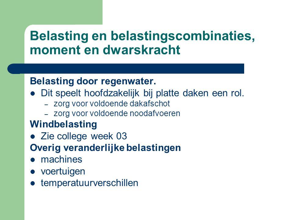 Belasting en belastingscombinaties, moment en dwarskracht Belasting door regenwater.