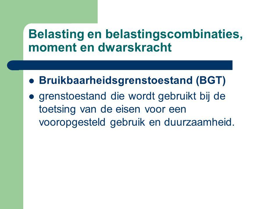 Belasting en belastingscombinaties, moment en dwarskracht Bruikbaarheidsgrenstoestand (BGT) grenstoestand die wordt gebruikt bij de toetsing van de eisen voor een vooropgesteld gebruik en duurzaamheid.