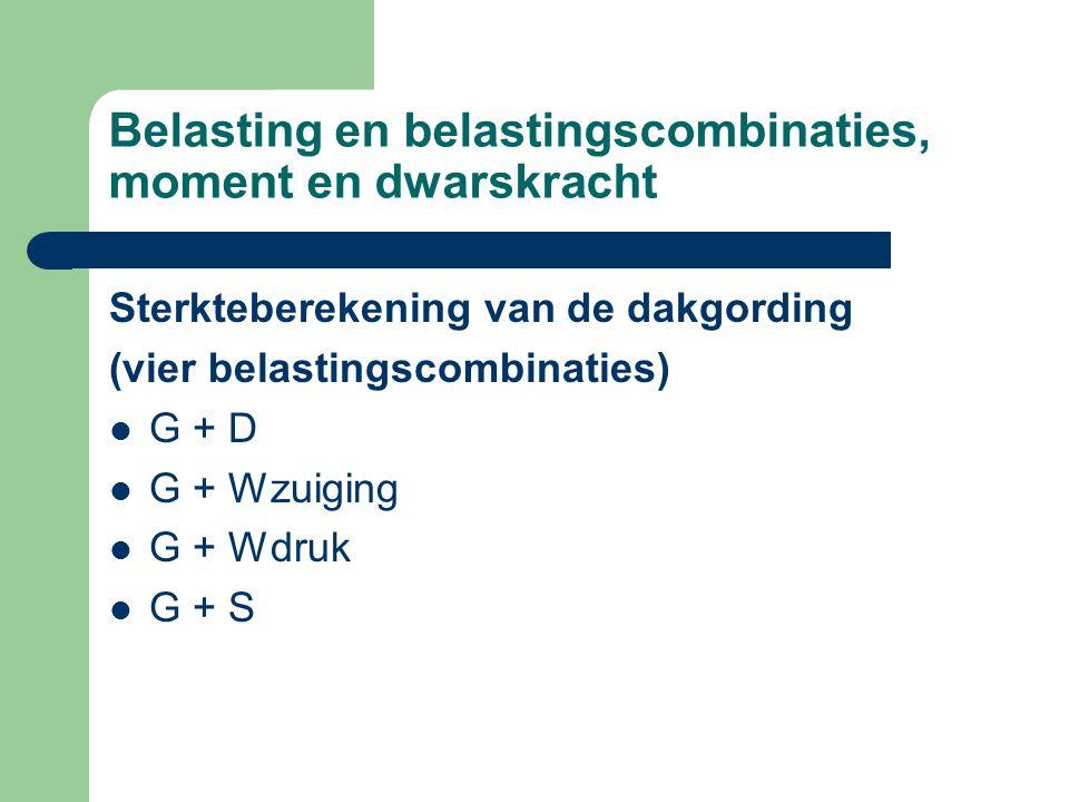 Belasting en belastingscombinaties, moment en dwarskracht Sterkteberekening van de dakgording (vier belastingscombinaties) G + D G + Wzuiging G + Wdruk G + S