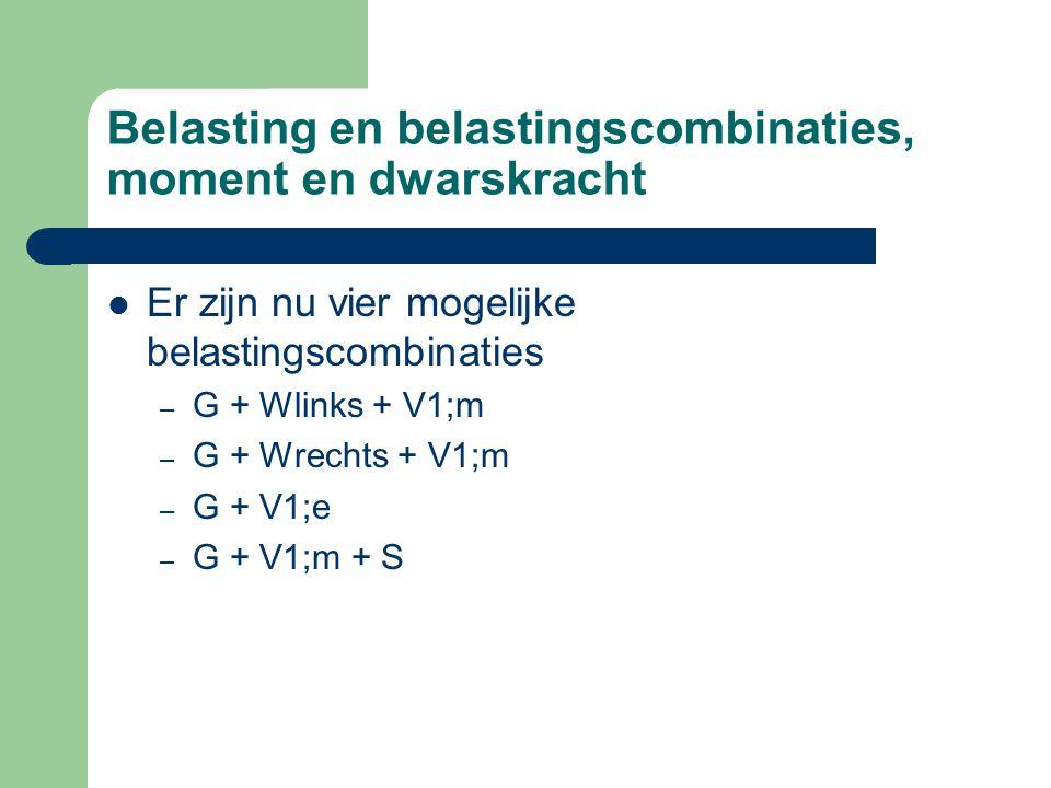 Belasting en belastingscombinaties, moment en dwarskracht Er zijn nu vier mogelijke belastingscombinaties – G + Wlinks + V1;m – G + Wrechts + V1;m – G + V1;e – G + V1;m + S