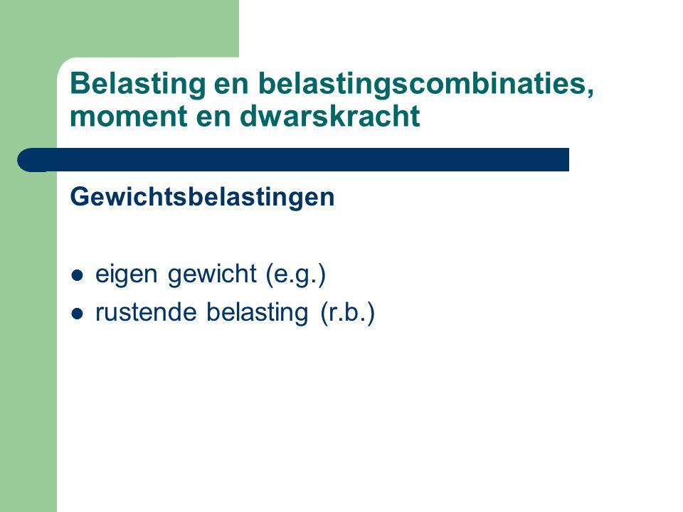 Belasting en belastingscombinaties, moment en dwarskracht Gewichtsbelastingen eigen gewicht (e.g.) rustende belasting (r.b.)