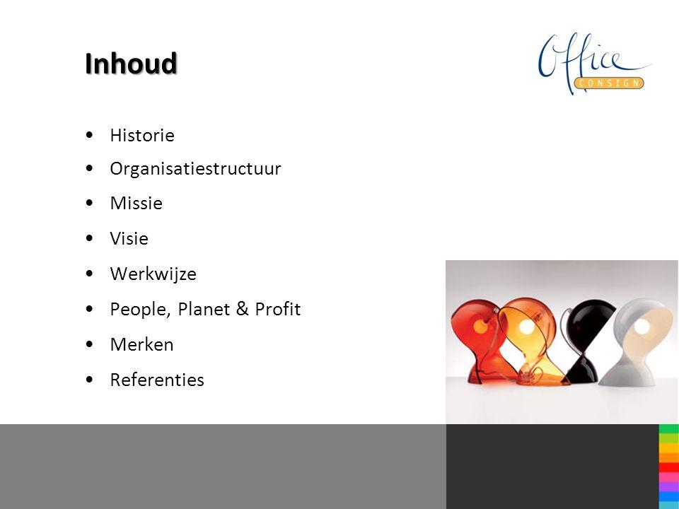 Inhoud Historie Organisatiestructuur Missie Visie Werkwijze People, Planet & Profit Merken Referenties