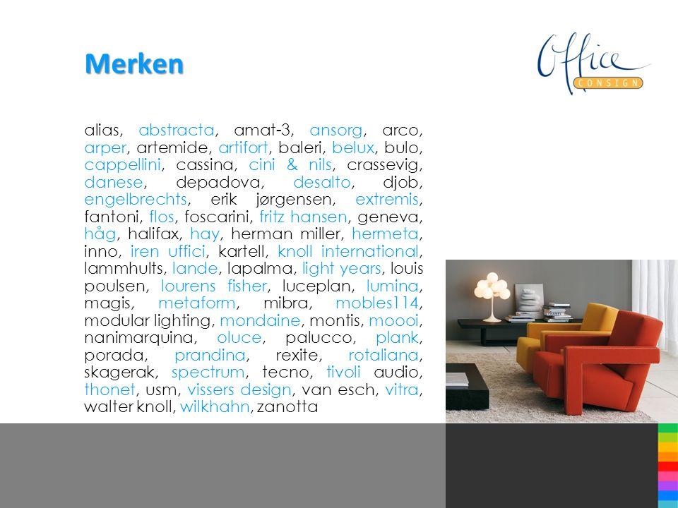 Merken alias, abstracta, amat-3, ansorg, arco, arper, artemide, artifort, baleri, belux, bulo, cappellini, cassina, cini & nils, crassevig, danese, de
