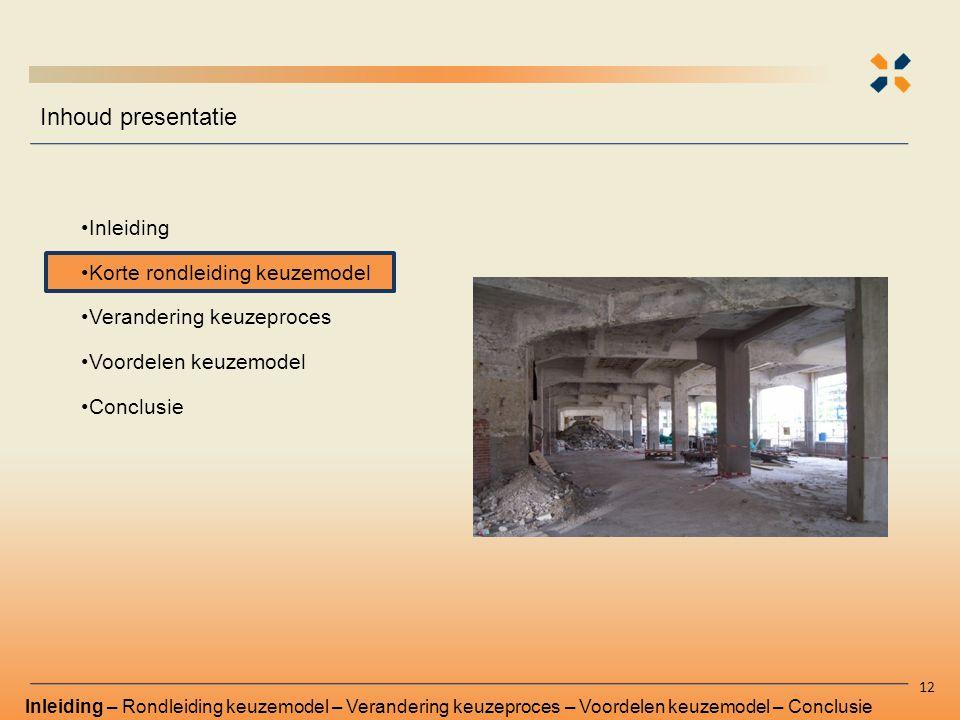 Inhoud presentatie Inleiding Korte rondleiding keuzemodel Verandering keuzeproces Voordelen keuzemodel Conclusie 12 Inleiding – Rondleiding keuzemodel